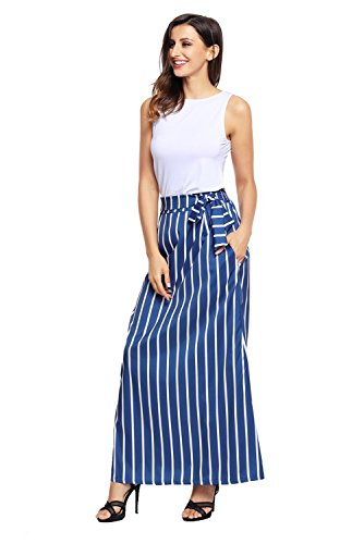 (XAKALAKA Women's High Waist Vertical Striped Maxi Skirt Long Skirts with Pocket Dark Blue)