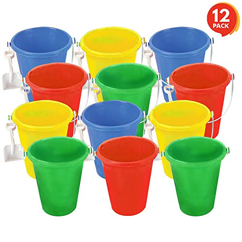 ArtCreativity Mini Plastic Beach Pail and Shovel Set (Pack of 12) | 6'' Assorted Colors Buckets and White Shovels | Summer Beach Toys | Practical Gift, Party Favor and Prize by ArtCreativity