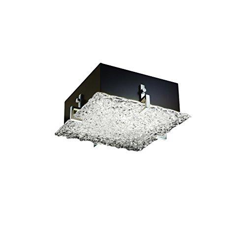 Justice Design Group GLA-5555-LACE-MBLK Veneto Luce Collection Clips Square Flush-Mount, - Glass Veneto Clips