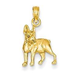 14K Yellow Gold Pit Bull Dog Charm Pendant
