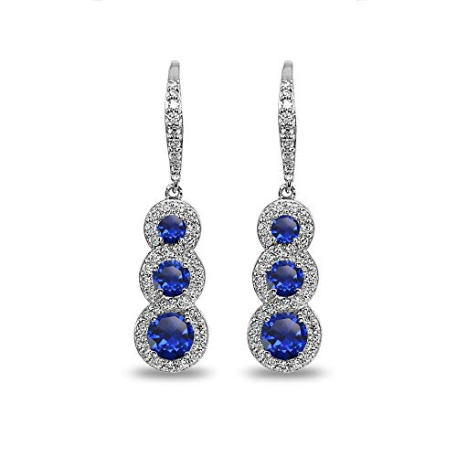 Sterling Silver Created Blue Sapphire Journey Halo Three-Stone Dangle Leverback Earrings (Graduated Pendant Sapphire Blue)