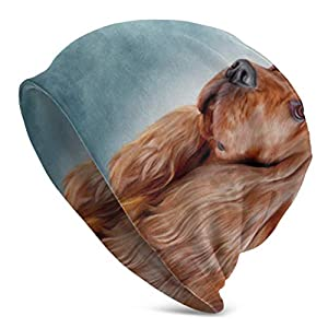 Drawing Dog English Cocker Spaniel Portrait Knit Hats for Women Knitted Beanie for Women Skull Caps Beanie Ladies Knit Cap 3D Printed Adult Comfortbale Soft 1