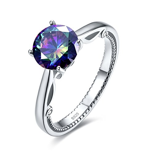 Merthus Womens 925 Sterling Silver Created Mystic Rainbow Topaz Millgrain Edged Solitaire Ring ()