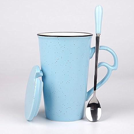 BXSBH Dulce de leche taza de cerámica, taza de café, un par de copas, cuchara, taza con tapa,Azul: Amazon.es: Hogar