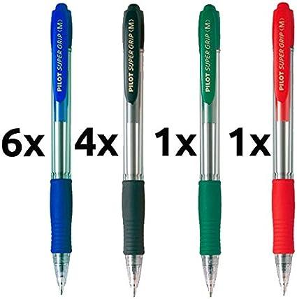 Boligrafo pilot supergrip pack 12 u.(6 azules,4 negros,1 rojo,1 ...