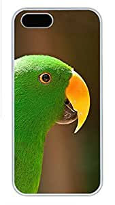 iPhone 5S Case, Unique Design Protective iPhone 5 5S PC Hard White Edge - Parrot Green Case Cover