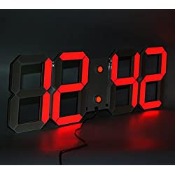 LambTown Large Display Led Wall Clock with Remote Control Countdown Count Up Led Clock Timer with Temperature Date 6'' Red Led Digits Highly Visible for Home Gyms Church Sports Event