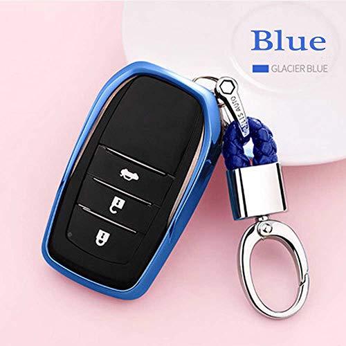 (Auto Key case TPU Soft Cover case for Toyota Highlander Land Cruiser Riez RAV4 Camry Prado Crown Corolla Handmade Waven Keychain Color Name Blue-Metal snap)