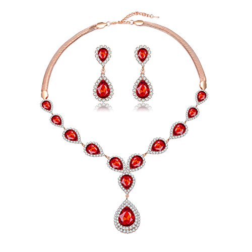 - Paxuan Womens Gold Plated Teardrop Red Crystal Wedding Bridal Jewelry Set Teardrop Pendant Necklace Drop Dangle Earrings Set