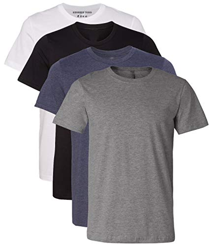 Kennedy Todd 4 Pack Men's Heather Cotton Poly T-Shirt (Solid Black Solid White H. Navy H. Grey, Medium)