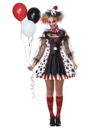 (California Costumes Women's Twisted Clown Adult Woman Costume, Black/White/red,)