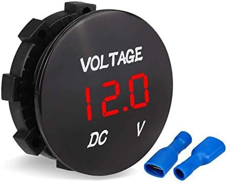 Red LED Digital Waterproof Voltmeter Gauge Meter 12V-24V For Car Auto Motorcycle