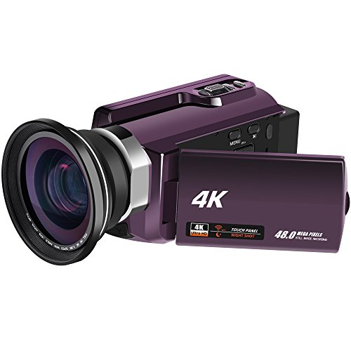 4K Video Camcorders 48MP 60fps WiFi Digital Camera Ultra HD Video Camera Camcorders with IR Night Vision and External Wide Angle Lens by RAINBOWDAY