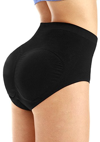 [Yulee Womens Shorts Padded Seamless Butt Hip Enhancer Shaper Underwear Panties, Black, Large] (Padded Underwear)