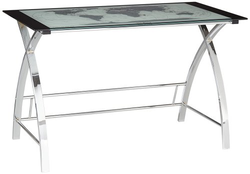 World Map Glass and Chrome Computer Office Desk - Chrome Map