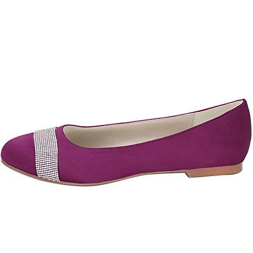 Loslandifen Mujeres Round Toe Satin Flats Prom Noche Zapatos De Novia De Tacón Bajo Satén Púrpura