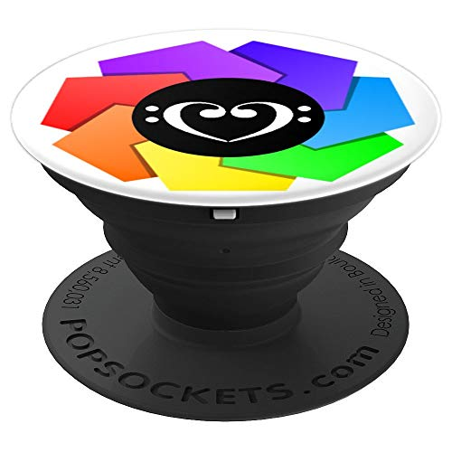 Double Bass Clef Heart Rainbow Mandala Pinwheel Bassist - PopSockets Grip and Stand for Phones and Tablets