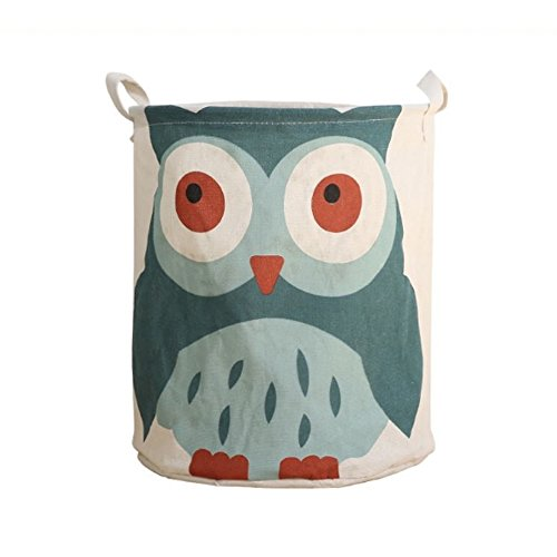 Fivebop Collapsible Laundry Basket Hamper with Handle Waterproof Linen Collapsible Dirty Clothes Toy Storage Basket (Owl)