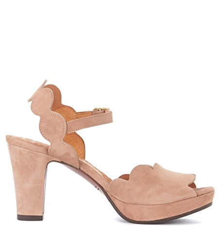 Heeled Scallop Suede Mihara Nude Women's Pink Evolet with Sandal Chie Iwfq1Xw
