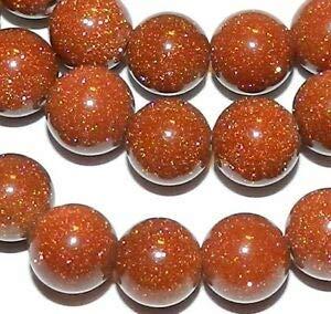 GR342 Copper Brown 8mm Round Goldstone Gemstone Glass Beads 16