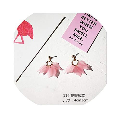 Women's Pink heart shape cute drop Earrings stylish korean style elegant fashion jewelry drop Earrings for girls Petal Earrings,5 (Best Korean Restaurant In Dc)
