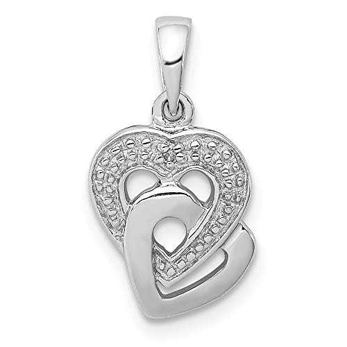 (Diamond Accent Hearts Entwined Pendant in Sterling Silver)
