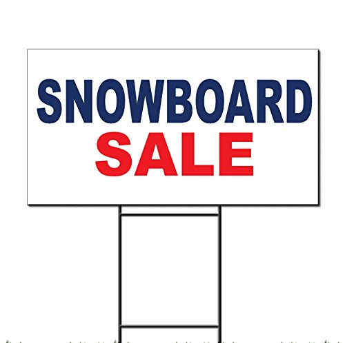 Snowboard Sale Blue Red Corrugated Plastic Yard Sign /Free Stakes 18 x 24 inches Two Sides Color
