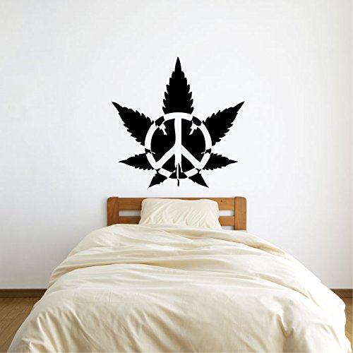 Peace Signs Graphics - Pot Marijuana Leaf with Peace Sign Symbol Vinyl Wall Words Decal Sticker Graphic