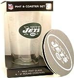 New York Jets NFL 16 Oz. Pint Glass & 4 Piece Coaster Set