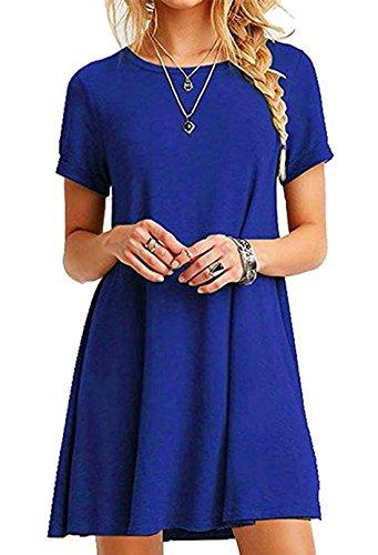 Fashion Court T Robe Plage Robe Grande Royal Shirt Bleu Courtes Manches en Taille Casual Loose de Robes de Fte Longue Femme t wFdqXF8