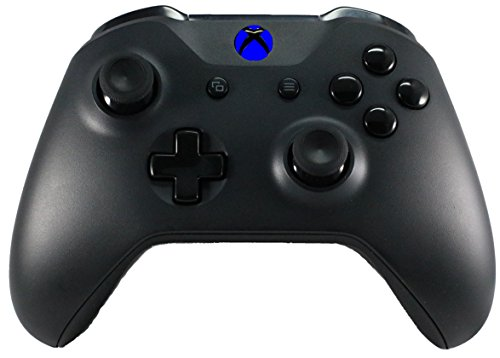 Xbox One S/X Modded Custom Rapid Fire Controller Blackout Blue LEDs/Glossy Black Buttons/Drop Shot/Jump Shot/Quick Scope - Master Mod
