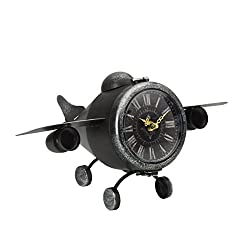Elements Metal Airplane Table Clock, 7.5