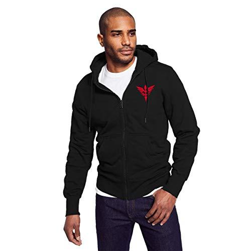 Rigg-hoodie Gundam Wing Neo Zeon Logo Men's Black Zip-up Hoodie Casual Style Sweatshirt
