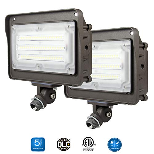 (2 Pack) Dakason 50W LED Flood Light, Dusk-to-Dawn Photocell, 180° Adjustable Arm, Replaces 150-200W HPS/MH, IP65 Waterproof Outdoor Security Lighting Fixture, 100-277Vac 5000K 6000lm ETL DLC Listed