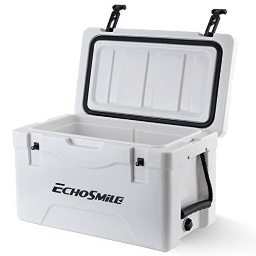 EchoSmile 30 Quart Ice Chest Rotomolded Cooler, Portable Beach Cooler with Durable Handles, Ice Cooler for Dry Ice, Great Gift for Outdoor Golf, Camping, Picnic, Sea Fishing (Best 30 Quart Cooler)