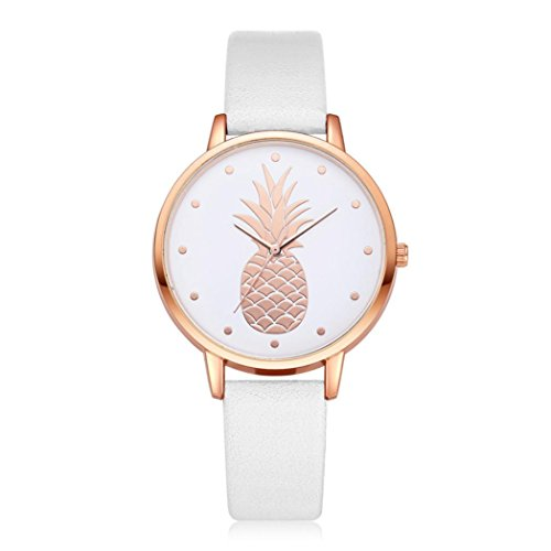 BEUU 2018 Hot The New High-Grade Pineapple Casual Leather Stainless Steel Pin Buckle Round Waterproof Watch Wristwatch Fashion Watches Quartz Men Women Men'S Jewelry Sport (E) (Watch Jewelry Review)