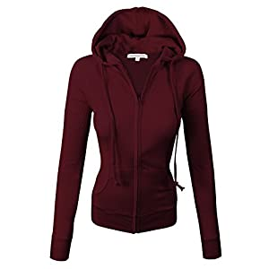 makeitmint Women's Thermal Light Weight Zip Up Jacket w/Hood Large Burgundy
