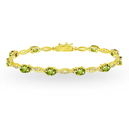 (GemStar USA Yellow Gold Flashed Sterling Silver Peridot and White Topaz Oval-Cut Swirl Tennis Bracelet)