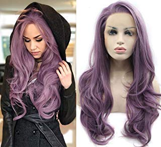 Chanecci Synthetic Lace Front Purple Wigs For Women Glueless High Temperature Heat Resistant Fiber Hair Like Human Hair Cosplay Wig 22 Inch with Wig Caps