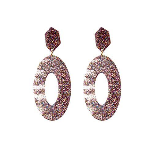 Orcbee  _Vintage Acetate Board Acrylic Geometric Oval Pearlescent Earrings Women Jewelry (B)