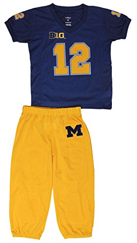 Michigan Wolverines Dream Team Pajama Set, Blue/Yellow, 5 by Fast Asleep