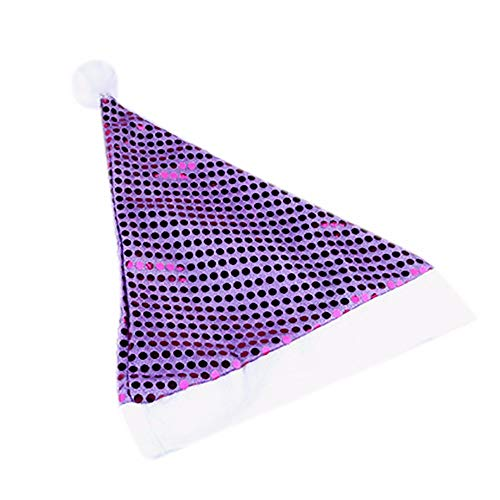 (5PC Christmas Cap for Adult,JDgoods Christmas Costume Classic Hat Holiday Shine Sequined Xmas Cap For Santa Claus Gifts Nonwoven Cap (Purple / 1PC))