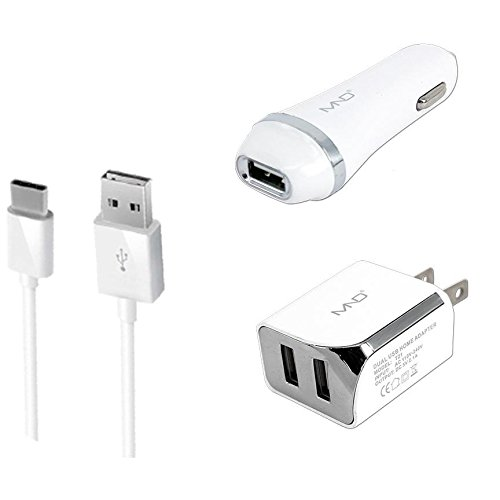 3-in-1 Type-C USB Chargers Bundle for BlackBerry KEY2 LE, Evolve X, Evolve, Key2, Motion, KEYone, DTEK70, Mercury, DTEK60 (White) - 2.1Ah Car Charger + Home Charger Adapter + USB Charging Cable MyNetDeals