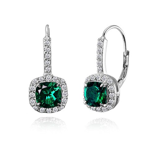 Sterling Silver Genuine, Simulated, or Created Gemstone & White Topaz Cushion-cut Leverback Earrings