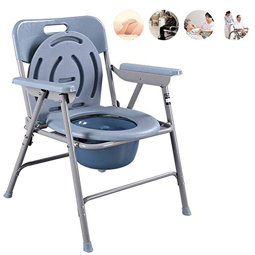 YXMxxm Bedside Commode Chair,Folding Bedside Commode,Portable Medical Toilet Seat Chair,Seniors Large Capacity Lightweight Disability Aid Chair,AB