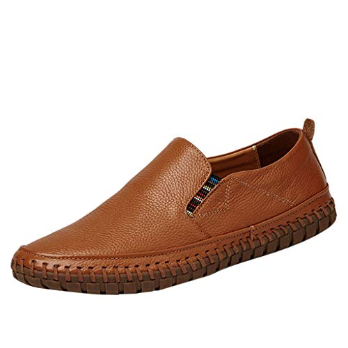 Answerl Casual Driving Loafer Loafers Men Leather Shoes Man Slip Ons Outdoor Dress Boat Walking Work Flats Summer Brown