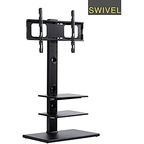 RFIVER Floor TV Stand With Universal Swivel Bracket Mount And Three Wood AV Shelves For 32 To 65 Inches Plasma LCD LED TVs TF1002