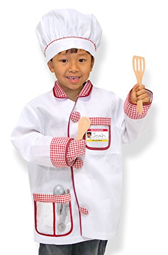 Melissa & Doug Chef Role Play Costume Dress -Up Set With Realistic Accessories, White, Ages 3-6 years - Little Girl Chef Costume