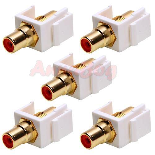 5x Audio Keystone Jack Modular RCA Red Center White Lot Pack ()