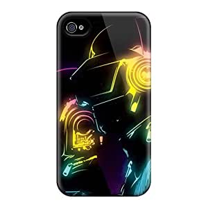 For Iphone 4/4s Premium Tpu Case Cover Neon Daft Punk Protective Case